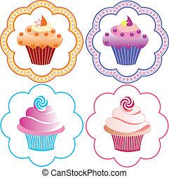 cupcakes, セット, かわいい
