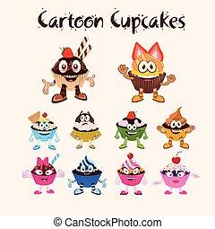 cupcakes, セット, 漫画