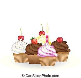 cupcakes, セット, birthday