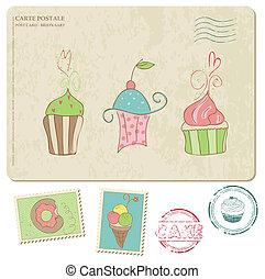 cupcakes, 古い, 葉書, -, スタンプ, デザインを設定しなさい, スクラップブック