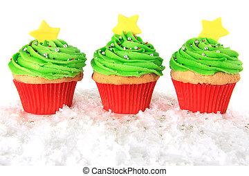 cupcakes, 木, クリスマス