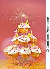 cupcakes, 由于, sparkler, 在頂
