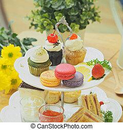 cupcakes, alatt, szüret, meleg, befest hanglejtés