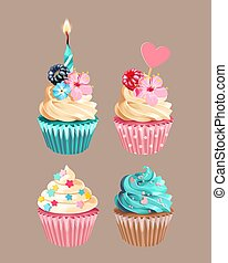 cupcakes, alto, vetorial, jogo, varicolored, detalhado