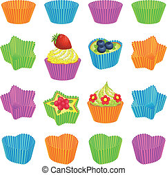 Cupcakes and colourful baking cups - Set of cupcakes and...