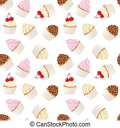 Cupcakes and muffins. Pastry background. Seamless pattern....