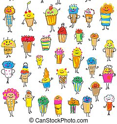 Cupcakes and muffins seamless pattern illustration