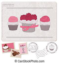 cupcakes, antigas, cartão postal, -, selos, projeto fixo, scrapbooking