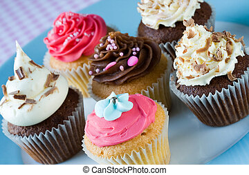 Cupcakes - Assortment of cupcakes on a plate