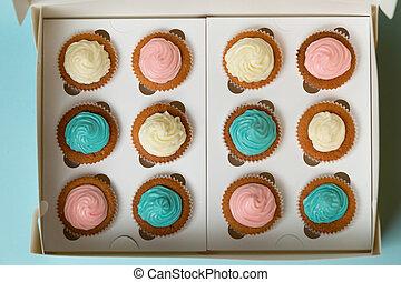 cupcakes, azul, recientemente, blanco, cocido al horno,...