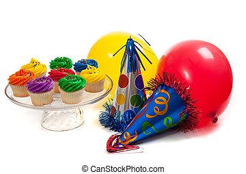 cupcakes, ballons, en, partij hoeden, op, een, witte achtergrond