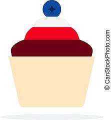 cupcakes, bianco, vettore, fondo., oggetto, disegno, mirtilli, materiale, appartamento, cioccolato, isolato