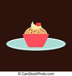 cupcakes, bricka, räcka lämna