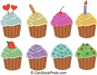 Cupcakes Cartoon Vector Illustration