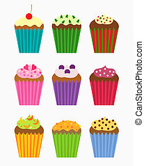 Cupcakes collection - Various flavors of cupcakes - vector...
