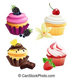 Cupcakes collection. Realistic muffins with cream, fruits, vanilla, chocolate. Vector cupcakes isolated on white background