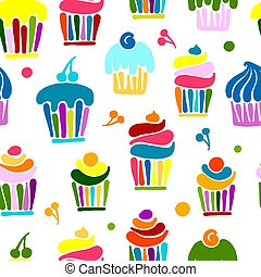 Cupcakes collection, seamless pattern for your design