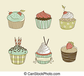cupcakes colored(10).jpg - Vector illustration of six ...