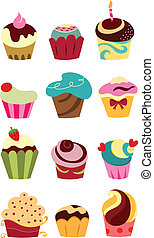 Cupcakes - Colorful cupcake set