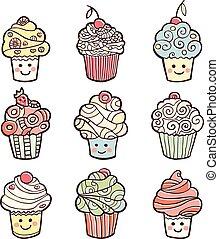 cupcakes, colorito, dolce, isolato, fondo., set, bianco