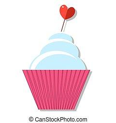cupcakes, com, creme, e, coração, ligado, um, vara, com, shadow., ícone, apartamento, desenho, vector.