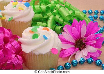 cupcakes, con, flor