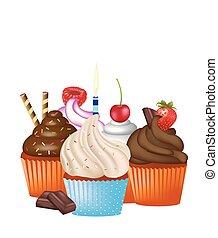 cupcakes, conjunto, blanco, plano de fondo
