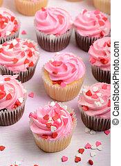 cupcakes, dag, valentinkort
