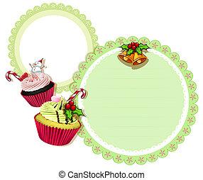 cupcakes, desenho, natal, redondo