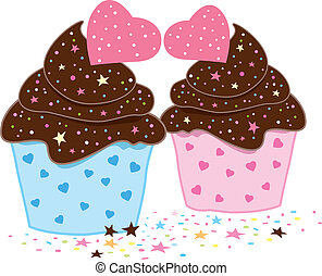 Cupcakes design on white background