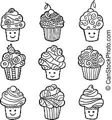 cupcakes, dolce, isolato, fondo., set, monocromatico, bianco