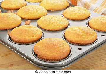 cupcakes, en, el, hornada, estaño