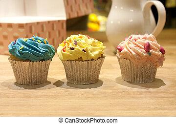 cupcakes, en, un, cocina, encimera
