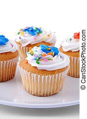 cupcakes, en, un, placa