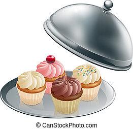 cupcakes, ezüst pecsenyéstál