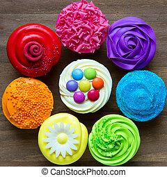 cupcakes, färgrik