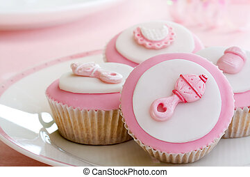 Cupcakes for a baby shower - Cupcakes decorated with a baby ...