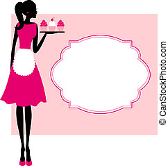 Illustration of a cute retro girl holding a tray with cupcakes and a frame against pink background.