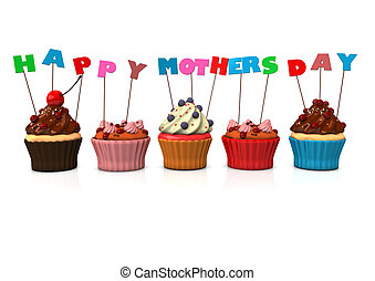 Colorful cupcakes with text happy mothersday. White background.