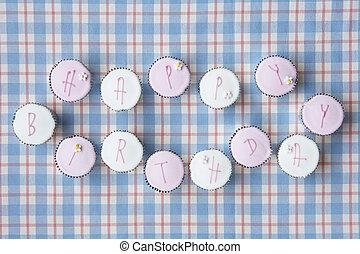 cupcakes, hechizo, afuera, feliz cumpleaños