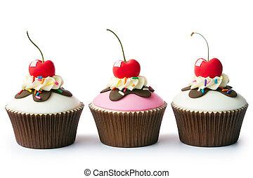 cupcakes, hielo, helado con frutas y nueces, crema