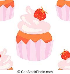 cupcakes, illustration., confectionary, dolce, seamless, fondo., vettore, modello, bianco, tuo, fondale, design.