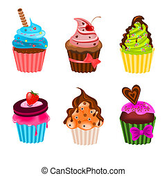 Cupcakes - Illustration of different kind of sweet cupcakes