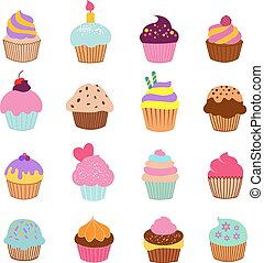 Cupcakes illustration vector. Vanilla chocolate and cherry muffin set