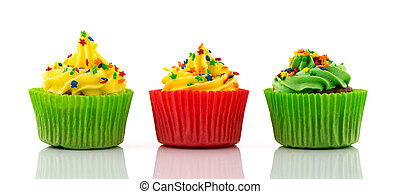 Cupcakes in green and red