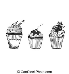 Cupcakes in sketch style, hand drawn vector illustration