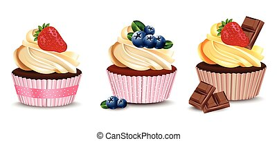 Cupcakes isolated on a white background. Vector realistic dessert. Summer delicious treats