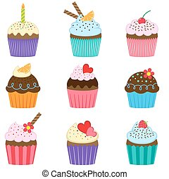 cupcakes, komplet, wektor, sprytny