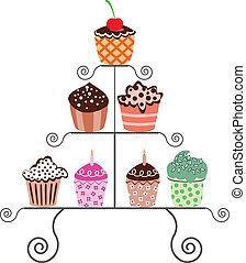 cupcakes, ligado, um, levantar