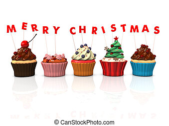 Cupcakes Merry Christmas - Colorful cupcakes with red text...